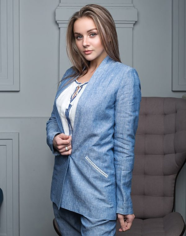Пиджак женский FN-4001 лен  синий джинс