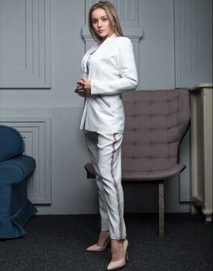 Пиджак женский FN-4001 лен  белый