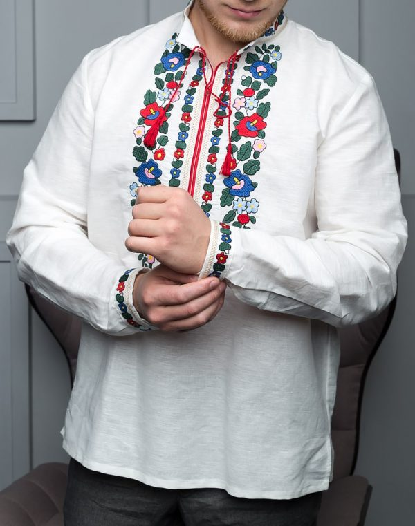 """Вышиванка мужская """"Борщивськи барви"""" лен белый"""