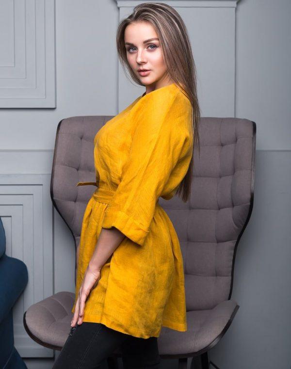 Блуза женская ВП-146 лен  горчица