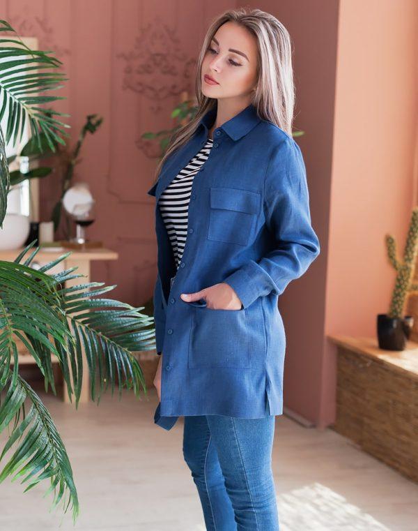 Жакет женский ВП-143 лен  997 синий