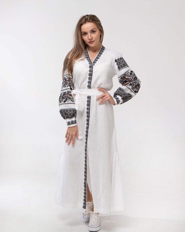 """Платье """"Дівчина Хлібороба"""" ВП-136-4 лен белый"""
