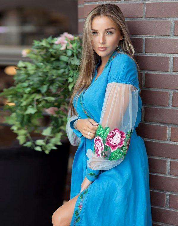 """Платье """"Троянди"""" лен 428синій+сітка (малюнок)"""