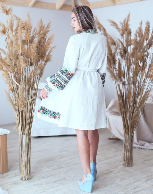 "Платье ""Квіткова"" лен белый"