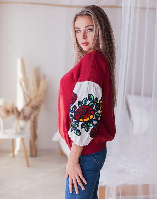 """Вышиванка женская """"Шипшина"""" лен бордо"""