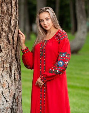 "Платье ""Борщівські барви"" Д-88-3 поплин красный"