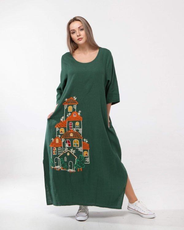 "Платье ""Будиночки"" Р3/4 Тамбур лен 534 зелений"