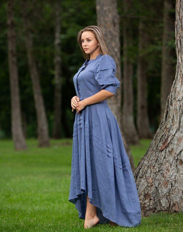 Платье Шик ПМ-1 лен синий джинс