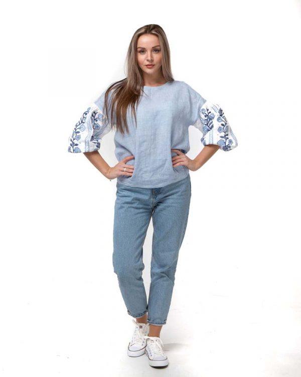 Блуза женская вышитая КОЗАЧКА, арт. ВП-180, лен голубой