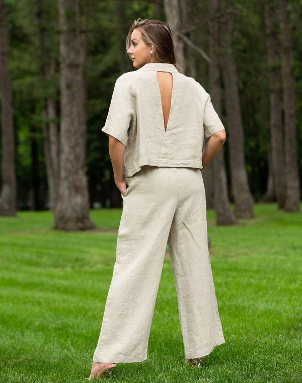 Костюм женский Вега лен (топ+брюки) бежевый
