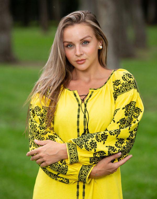 """Платье """"Лілея"""" Д-88-3 лен желтый"""