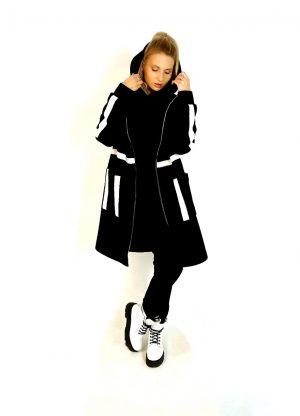 Пальто КИ-104 Зебра ВШ100 черный/молоко