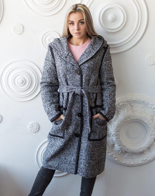 В-173 Пальто женское ТвидБукле бело-черное