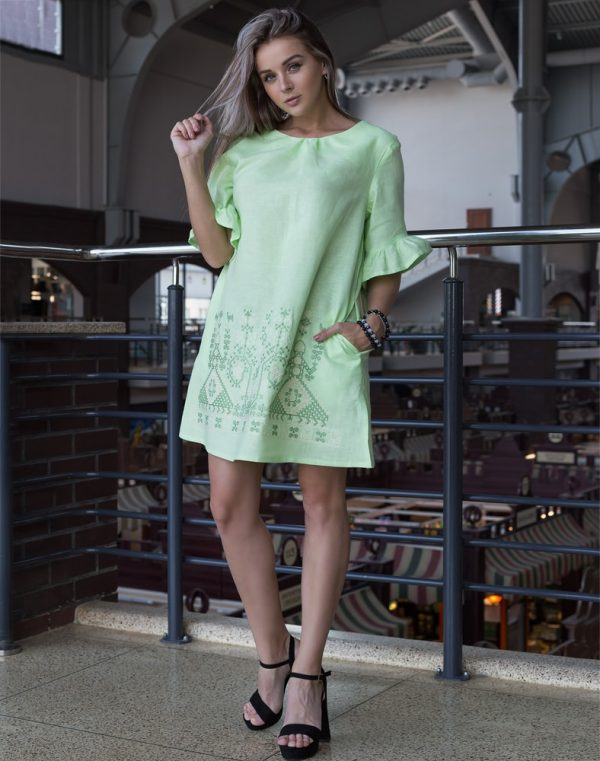 """Платье """"Дівчата"""" ВП-67-К лен 761 салат (зелений/беж)"""