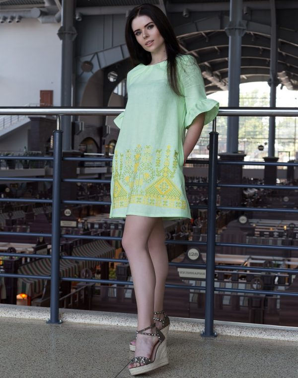 "Платье ""Дівчата"" ВП-67-К лен 761 салат (зелений/жовт)"