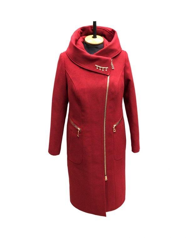 К-134 Пальто женское Кашемир утепленное вино