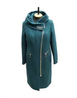 К-134 Пальто женское Кашемир утепленное зеленый