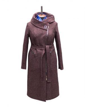 Пальто женское утепленное К-134 кашемир бордо