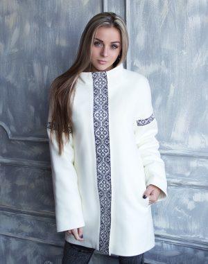 Пальто женское утепленное К-139 Орнамент вареная шерсть молочный/черный