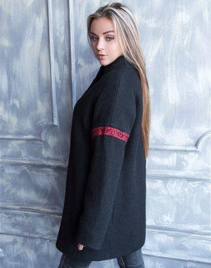 Пальто женское утепленное К-139 Орнамент вареная шерсть черный/бордо