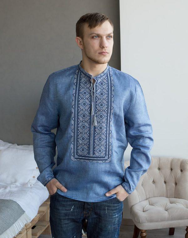 """Вышиванка мужская """"Колос"""" лен синий джинс"""