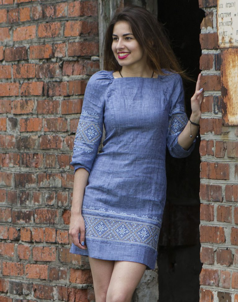 """Платье """"Традиція"""" лен синий"""