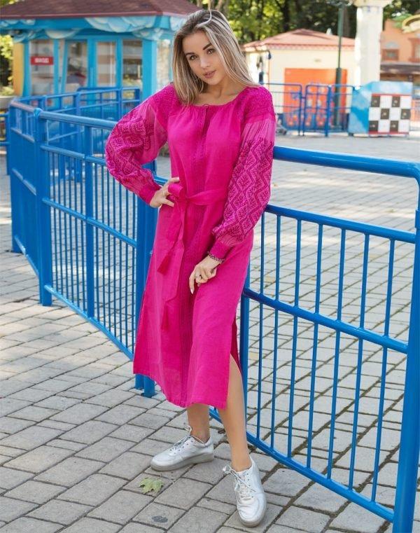 """Платье """"Чернігівщина"""" лен Д-88-2 длина малина"""