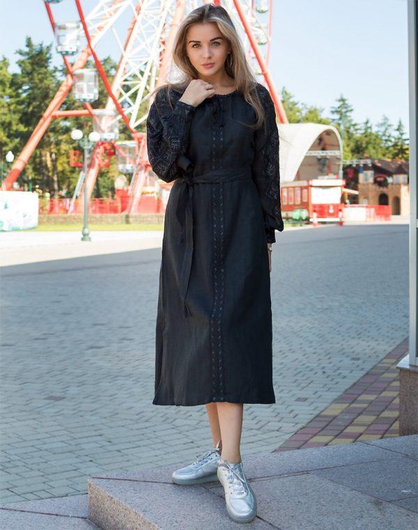 "Платье ""Чернігівщина"" лен Д-88-2 длина черный"