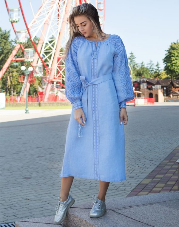 """Платье """"Чернігівщина"""" лен Д-88-2 длина голубой"""