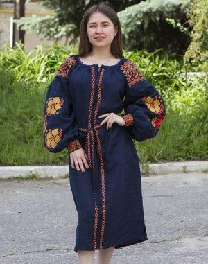 """Платье """"Барвінок"""" лен Д-88-1 длина синий"""