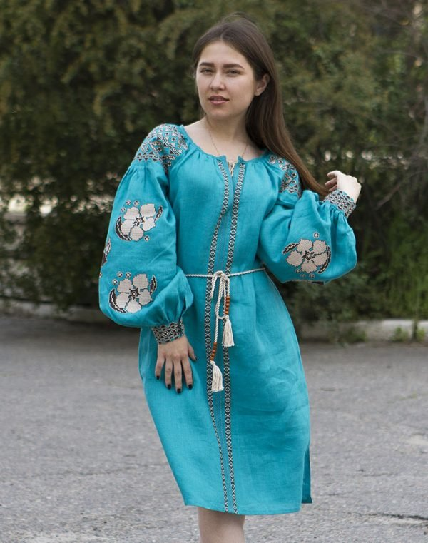 "Платье ""Барвінок"" лен Д-88-1 длина бирюза"