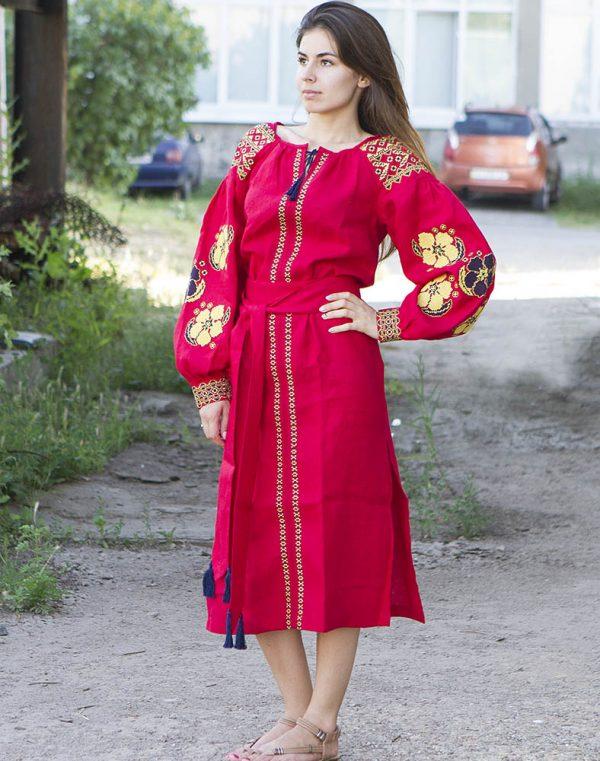 """Платье """"Барвінок"""" лен Д-88-1 длина красный"""