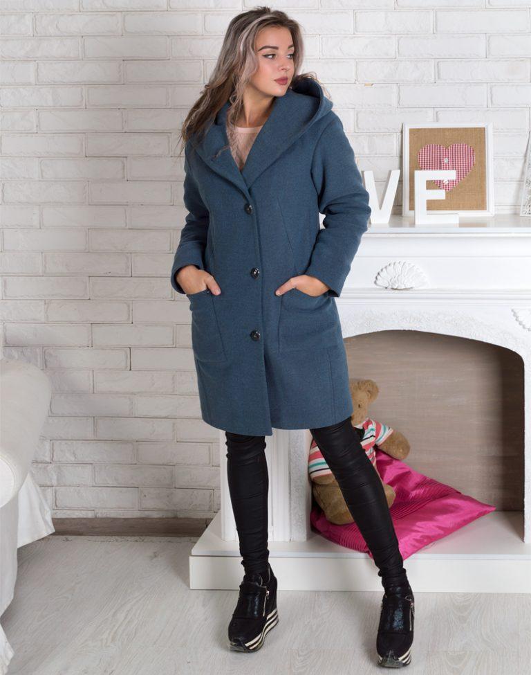 В-115 Пальто Кашемир утепленное серо-голубой