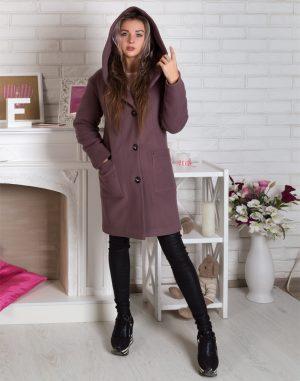 Женское пальто утепленное В-115 Кашемир чайная роза