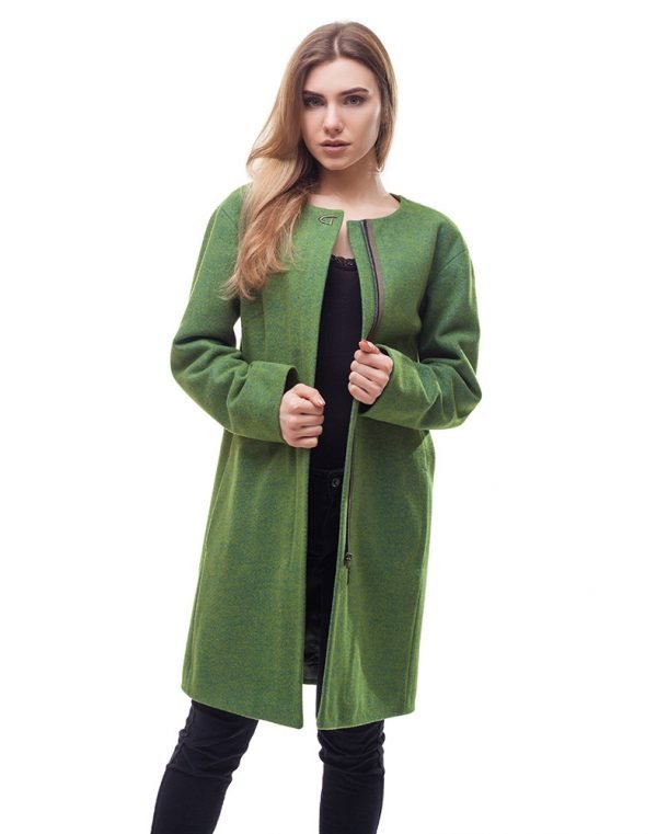 Женское пальто В-54 Кашемир зеленый