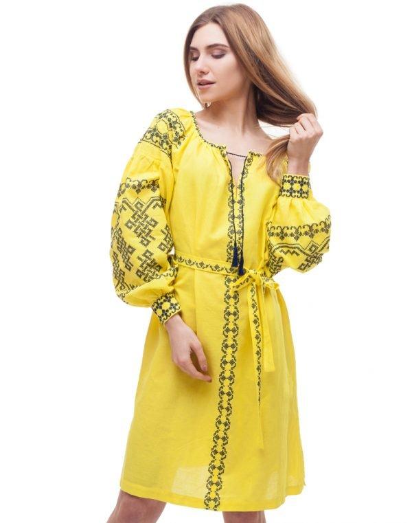 """Платье """"Подоляночка"""" лен Д-88-1 длина желтый"""