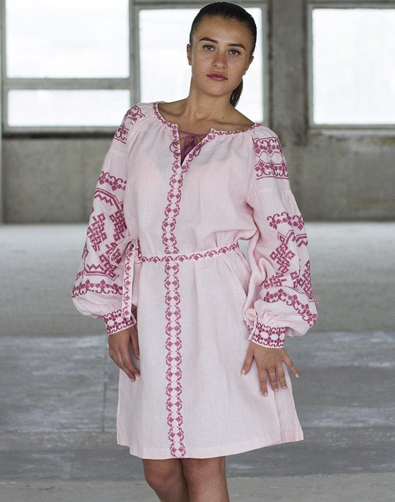 """Платье """"Подоляночка"""" лен розовый"""