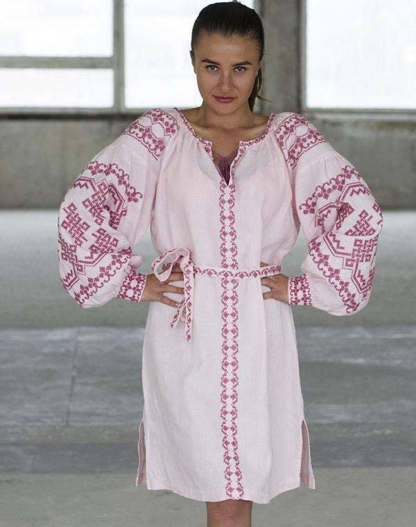"""Платье """"Подоляночка"""" лен Д-88-1 длина розовый"""
