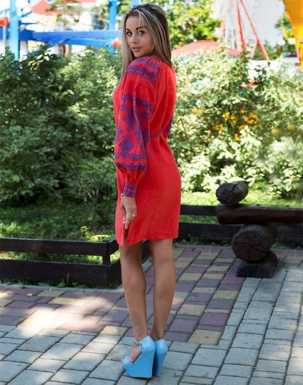 """Платье """"Подоляночка"""" лен Д-88-1 длина малина"""