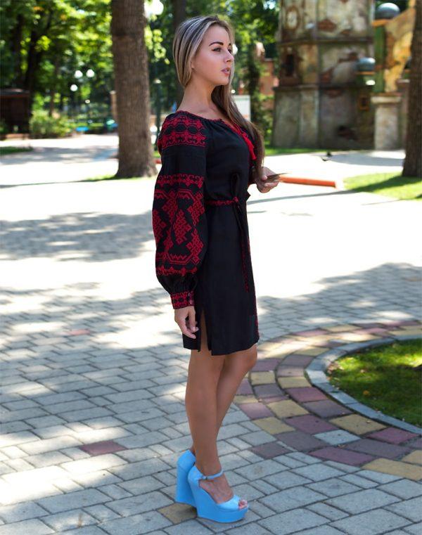 """Платье """"Подоляночка"""" лен Д-88-1 длина черный"""