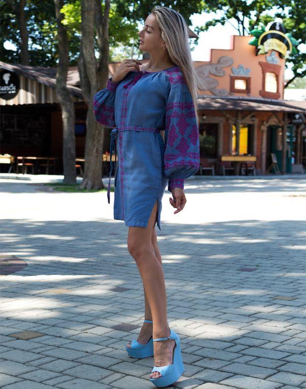 """Платье """"Подоляночка"""" лен Д-88-1 длина джинс"""