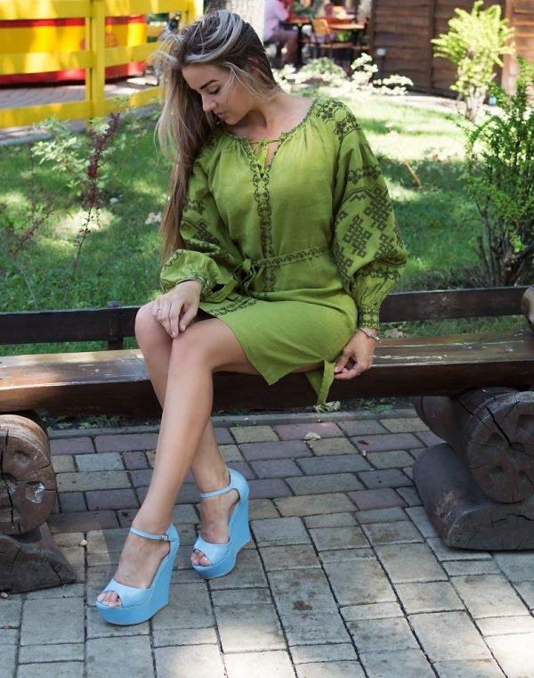 """Платье """"Подоляночка"""" лен Д-88-1 длина горох"""