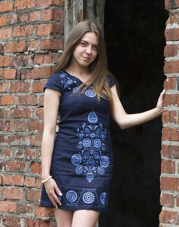 """Платье """"Дерево Життя"""" лен синий темный"""