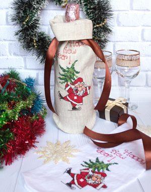 "Чехол для бутылки ""Santa"" лен бежевый"
