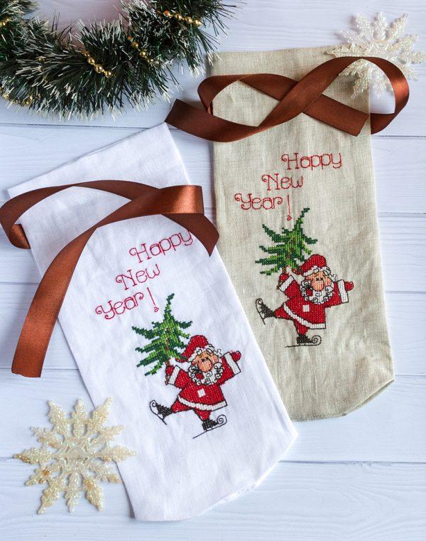 "Чехол для бутылки ""Santa"" лен белый"