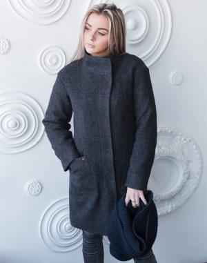 Женское пальто В-71 утепленное кашемир Феникс темно-синий
