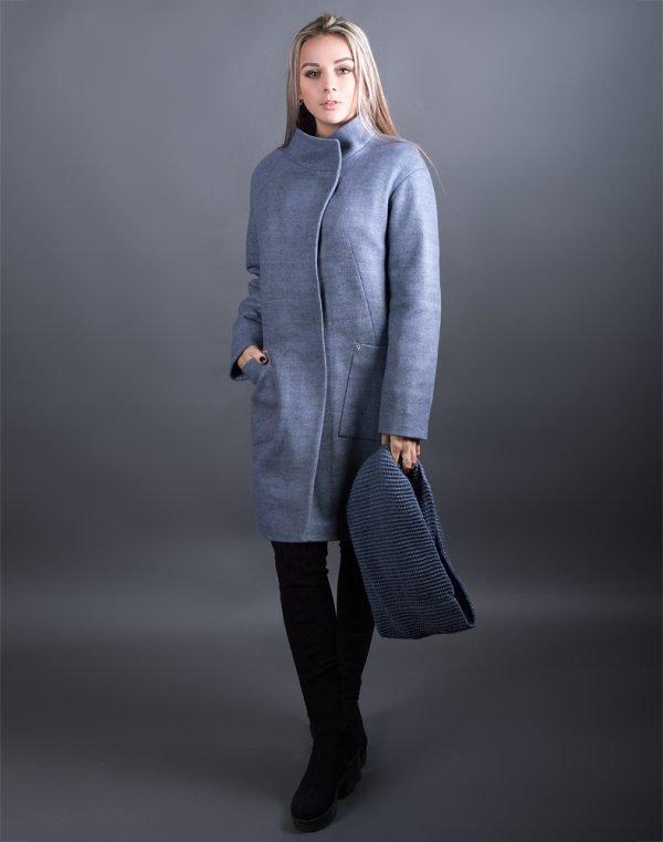 В-71 Пальто Феникс серо-голубой