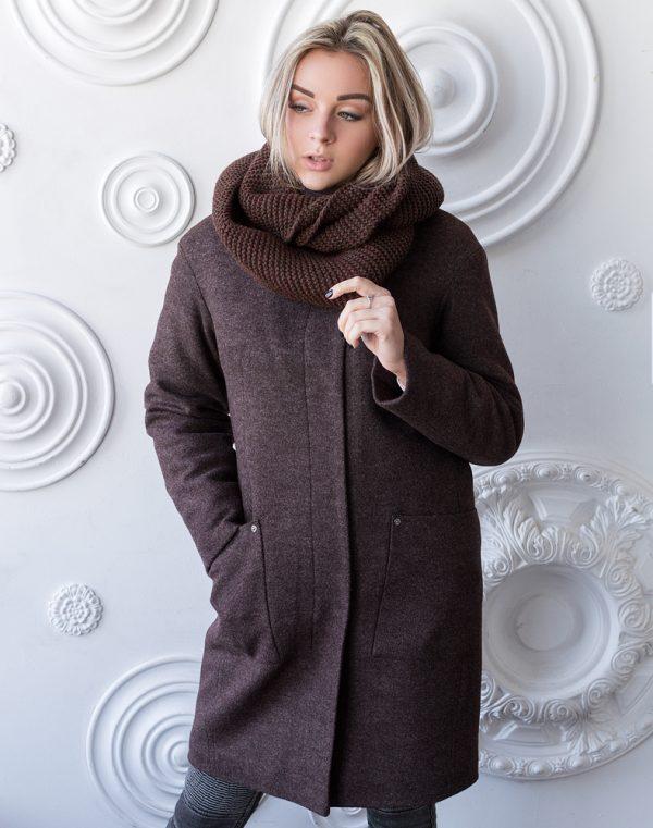 Женское пальто В-71 утепленное кашемир Феникс марсала
