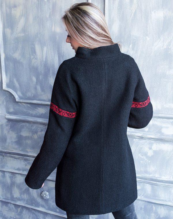 Пальто женское К-139 Орнамент вареная шерсть черный/бордо