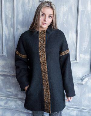 Пальто женское К-139 Орнамент вареная шерсть черный/бронза